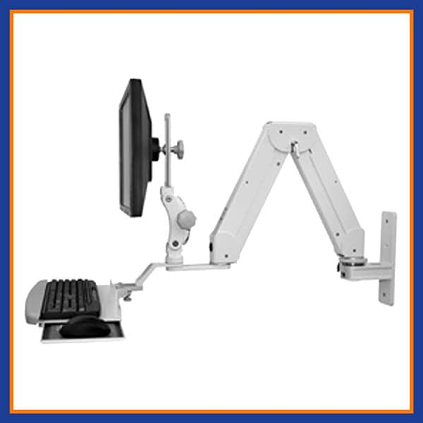 Paralink Elite Double Arm LCD Wall Mount w Bent Keyboard Tray